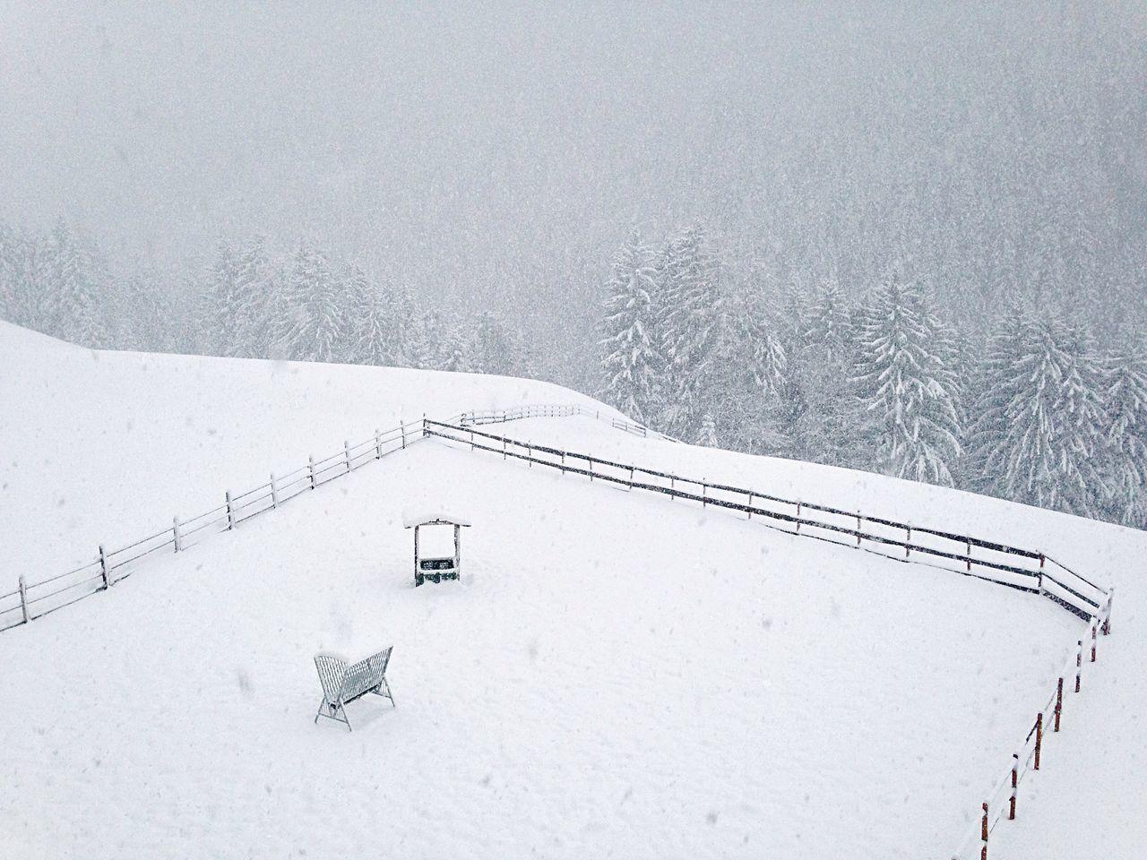 Snow Winter Wintertime Landscape Village Welschnofen Nova Levante Italy Südtirol Snowing Fence