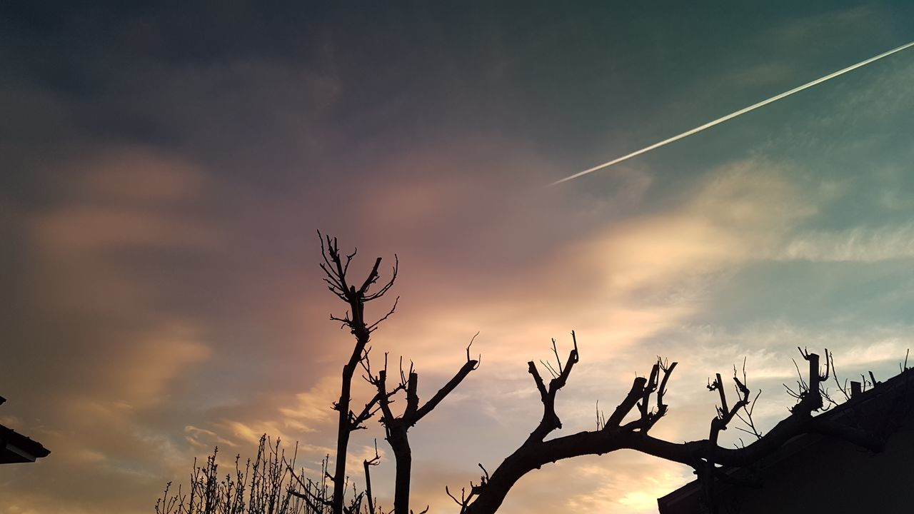 vapor trail, contrail, nature, beauty in nature, sky, sunset, no people, outdoors, scenics, low angle view, day