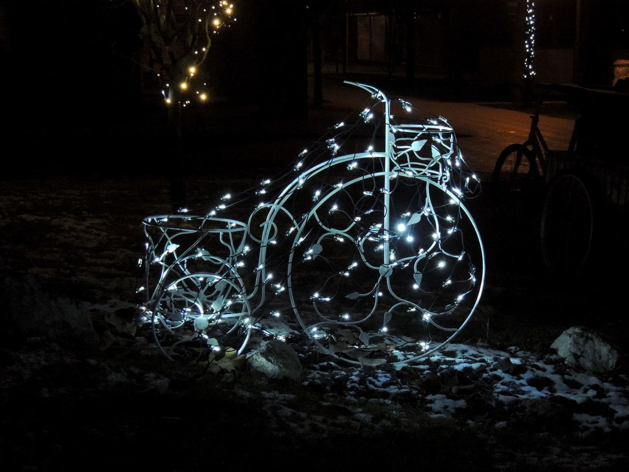 Bicycle Christmas Close-up Furniture Illuminated Night No People Patio