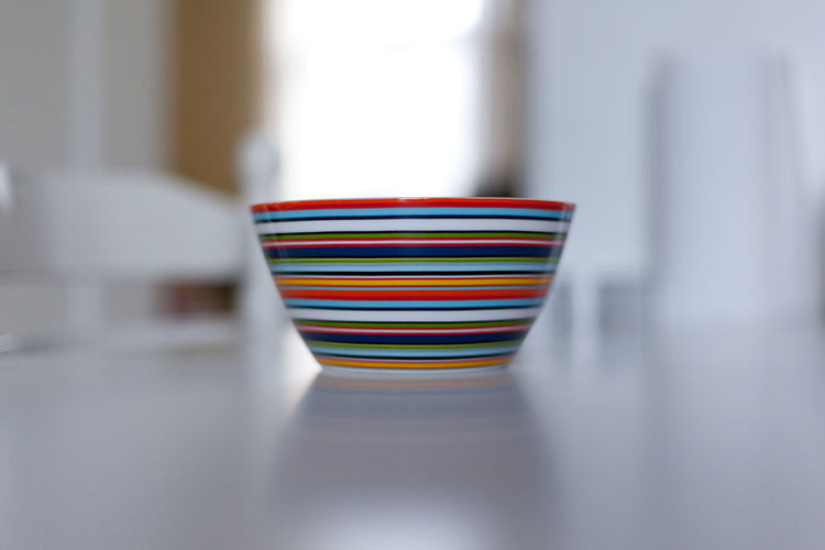 Bowl Breakfast Cereal Art Bokeh Bowl Close-up Day Decorative Decorative Bowl Food Indoors  Multi Colored No People Selective Focus Striped Striped Bowl Vibrant Colors