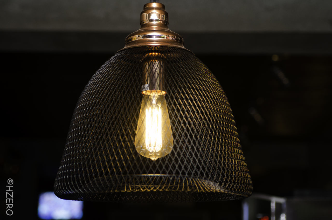 lighting equipment, illuminated, electricity, hanging, electric light, indoors, no people, focus on foreground, light bulb, close-up, low angle view