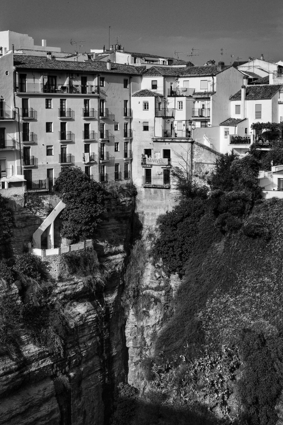 Architecture Built Structure Building Exterior Outdoors Day No People Scenic Landscapes Ronda Ronda Spain Ronda, Malaga Ronda Andalucia Cliff Face Cliff Edge Cliffs Cliffside Cliff View Black And White Black And White Photography Blackandwhite Photography Black & White Black & White Photography Andalucian Town Cliff Near The Edge Clifftop