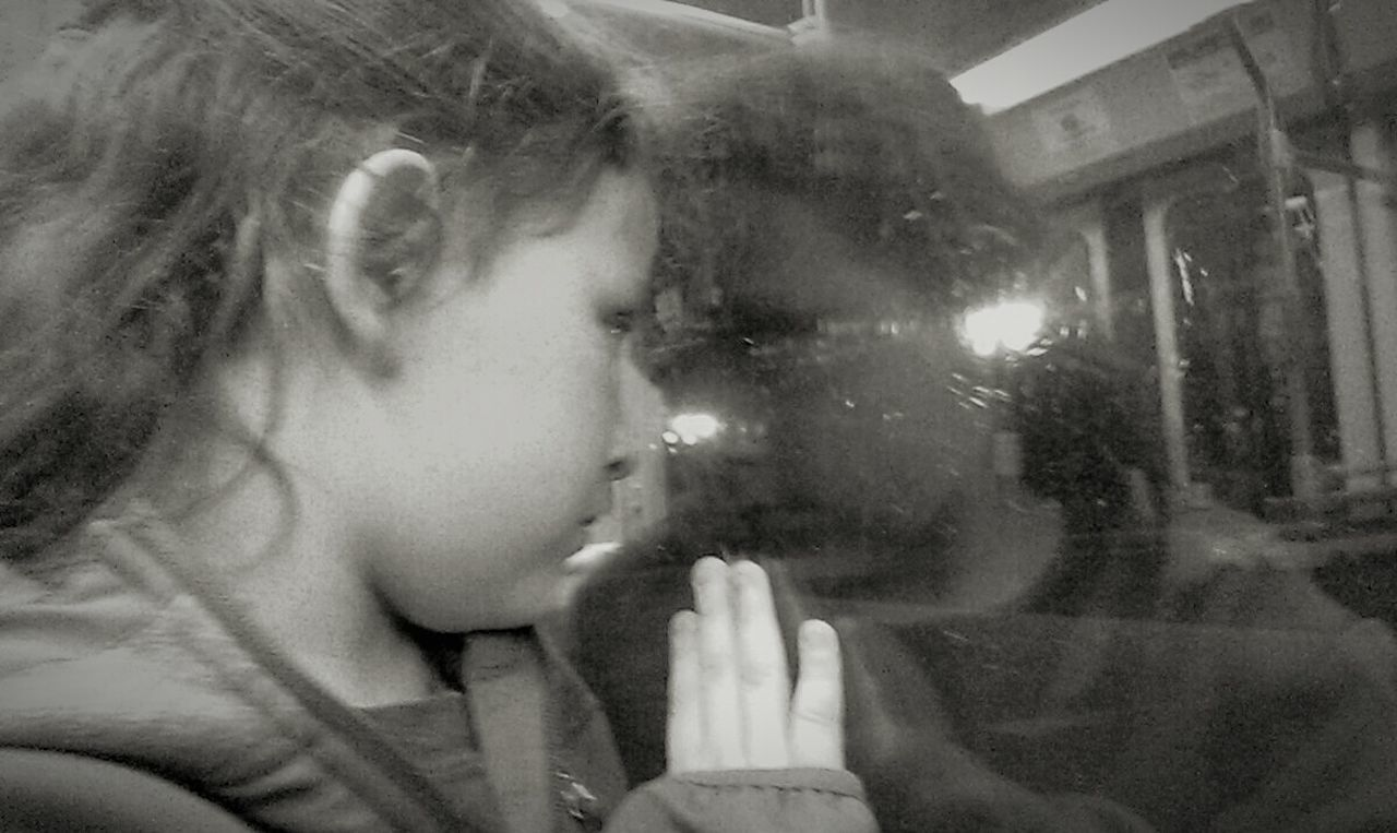 Reflection In The Window Emotional Goodbye Riding The Rails Child's Perspective My Daughter Needs Me Family Matters Train Station Platform Background Blur Monchrome Photography