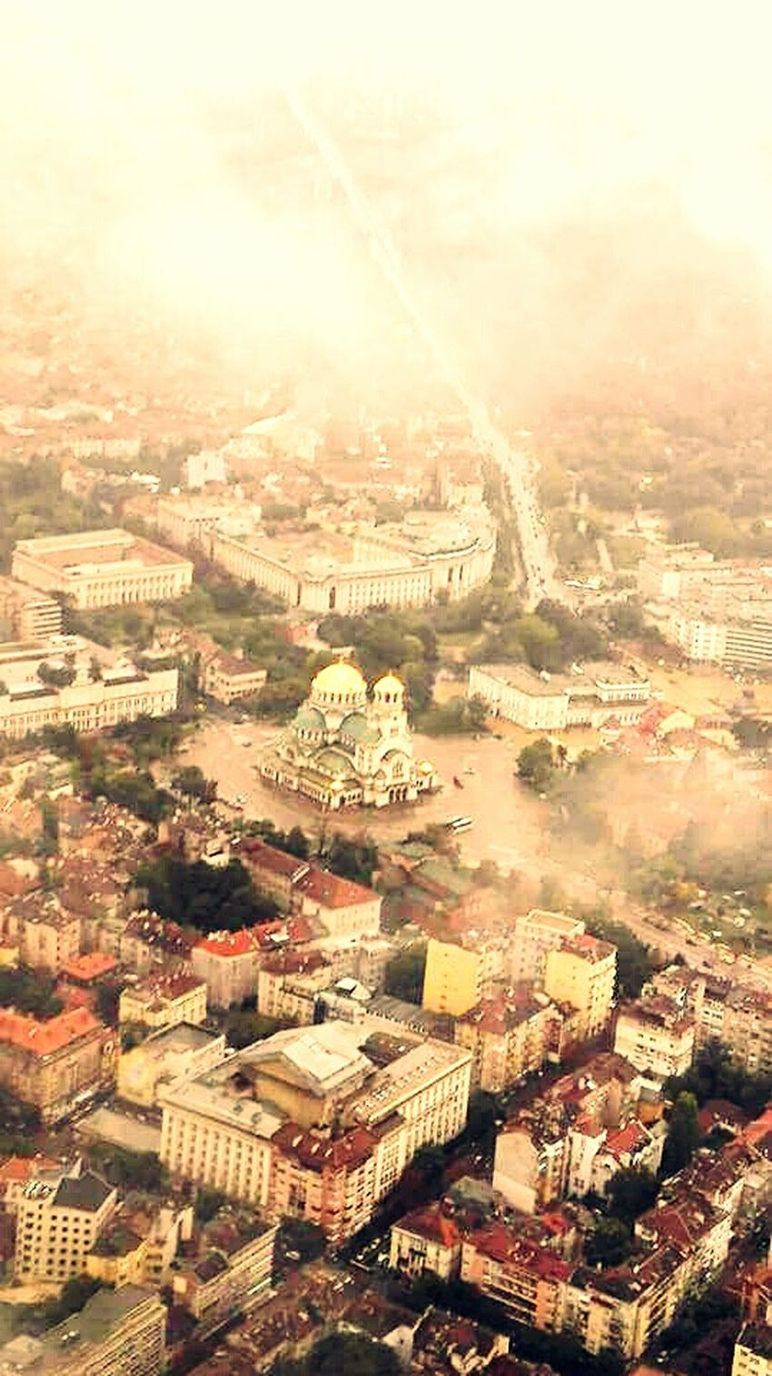A Bird's Eye View From My Point Of View From An Airplane Window Urbanexplorer Cityview Journey Aerial View Airplane Aircraft Wing Sofia Bulgaria Flying Travel Mode Of Transport City Landscape Alexander Nevski Cathedral Alexander Nevski Cathedral, Sofia