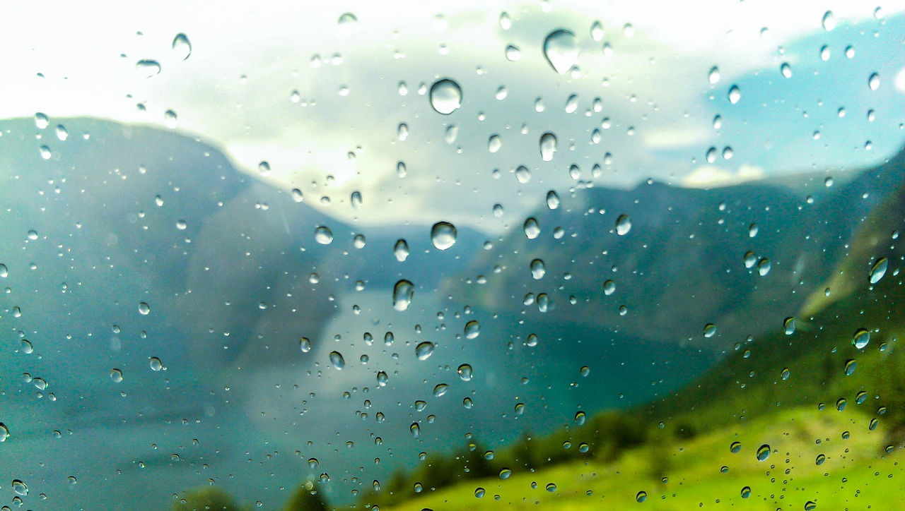 drop, window, wet, weather, no people, water, raindrop, indoors, day, nature, sky, close-up, freshness