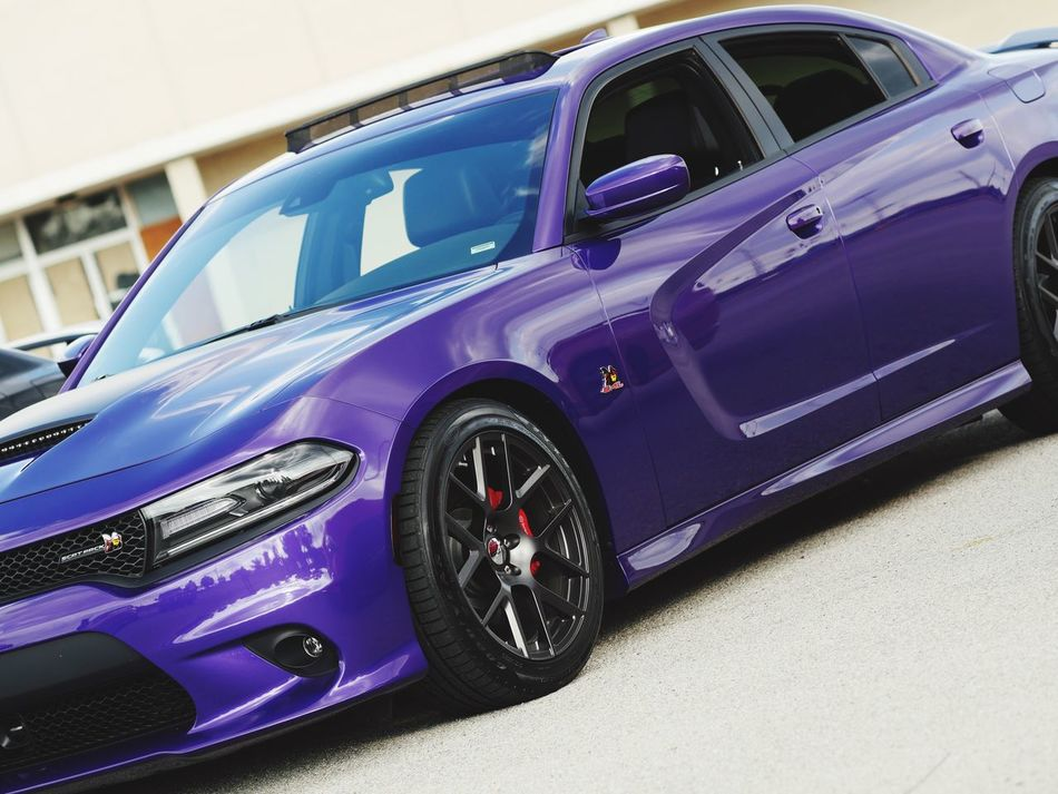 Car Transportation Mode Of Transport Road Road Trip Vibrant Color Day Outdoors Purple Charger Plum Crazy Headlight Side View