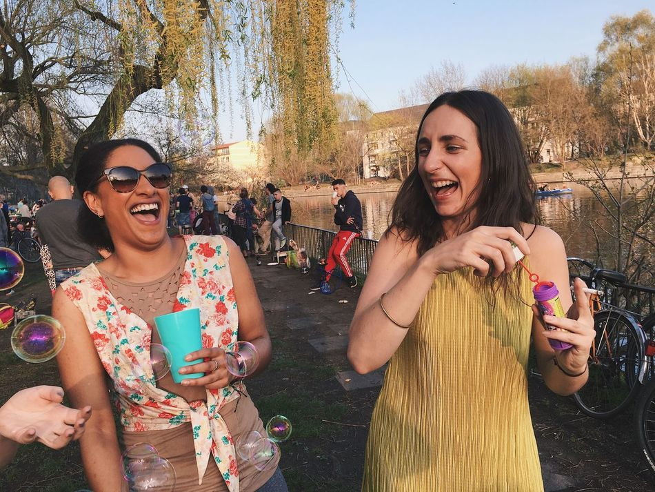 sunny april Friendship Young Adult Smiling Fun Young Women Cheerful Happiness Carefree Togetherness Enjoyment Outdoors Real People Berlin