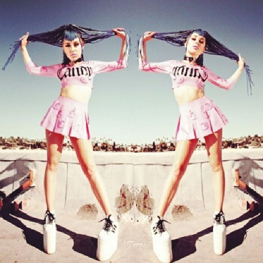Brookecandy Br00kecandy Blue Hair pink platforms followingback
