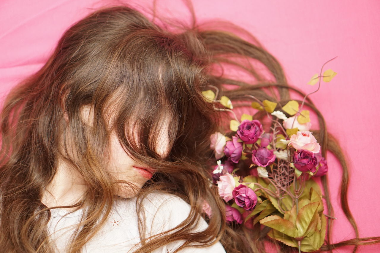 Flower Pink Color Eye Only Women Pink Background One Person Beauty One Woman Only Close-up People Beautiful Woman Human Body Part Portrait Millennial Pink Pink Hair Vintage Vintage Style Hair On The Face Hair In Face Sleeping Sleeping Beauty