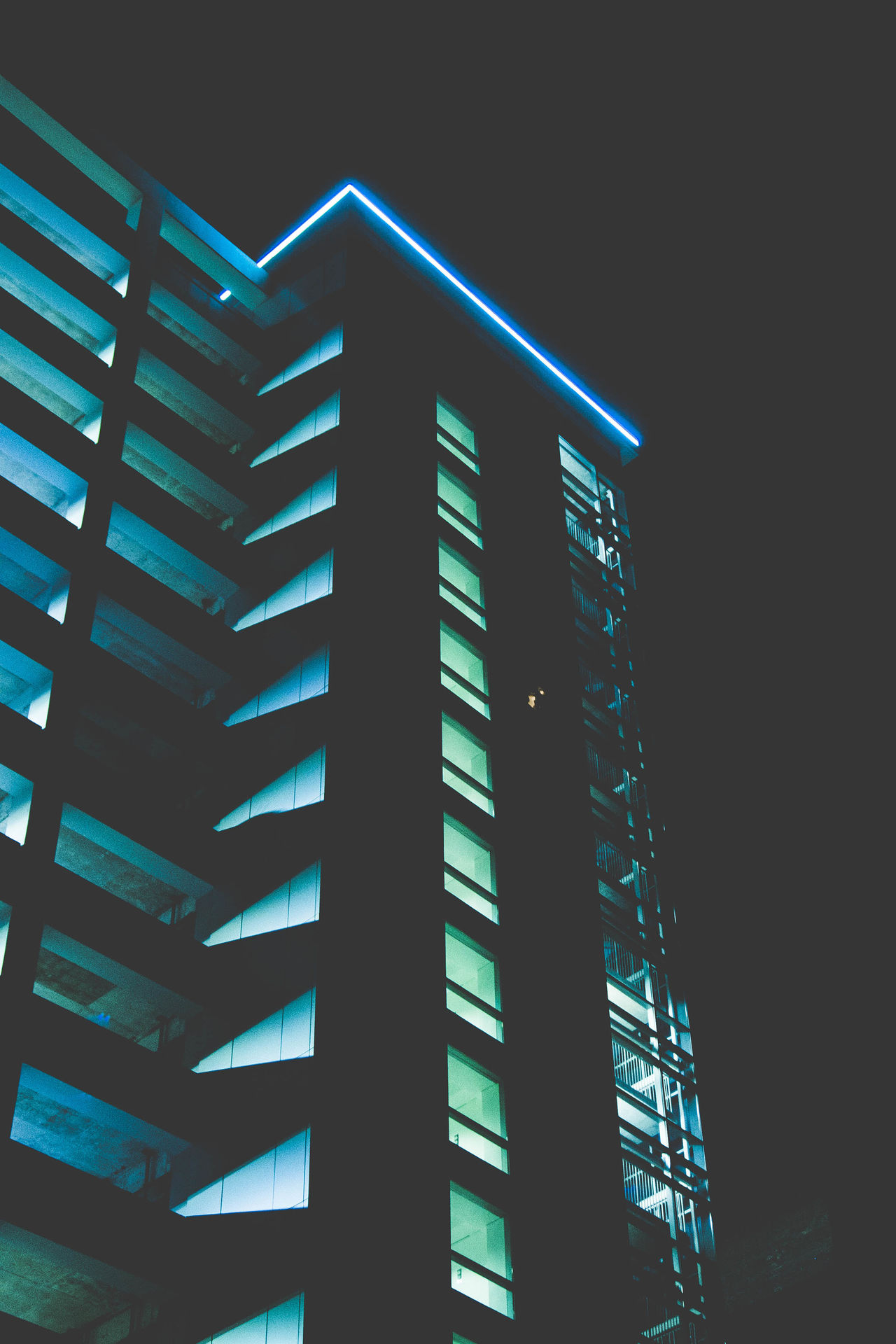 Architecture Bluelight Building Built Structure Greenlight High Angle View Houston Houston Texas HoustonTX Illuminated Low Angle View Night Night Lights Night Photography Nightphotography No People Outdoors Parking Garage Photo Photographer Photography Photooftheday Shadow Street Streetphotography