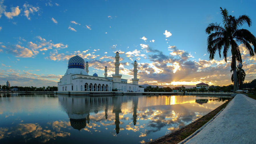 Beautiful sunrise at Kota Kinabalu City Mosque, also known as Floating Moasque Beautiful Sunrise Kota Kinabalu Architecture Beauty In Nature Building Exterior Built Structure Cloud - Sky Floating Mosque Mosque Nature Reflection Sabah Malaysia Sky Travel Destinations Tree Water Waterfront