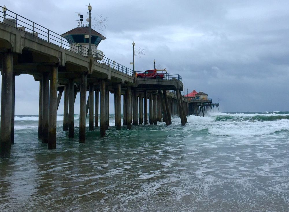 Hoping for more days like this! Water Sea Pier Cloud - Sky Beauty In Nature Wave Huntingtonbeach Beachphotography