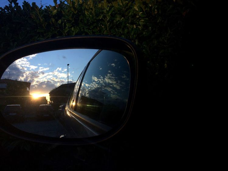 Car Side-view Mirror Reflection Transportation Vehicle Mirror Sky