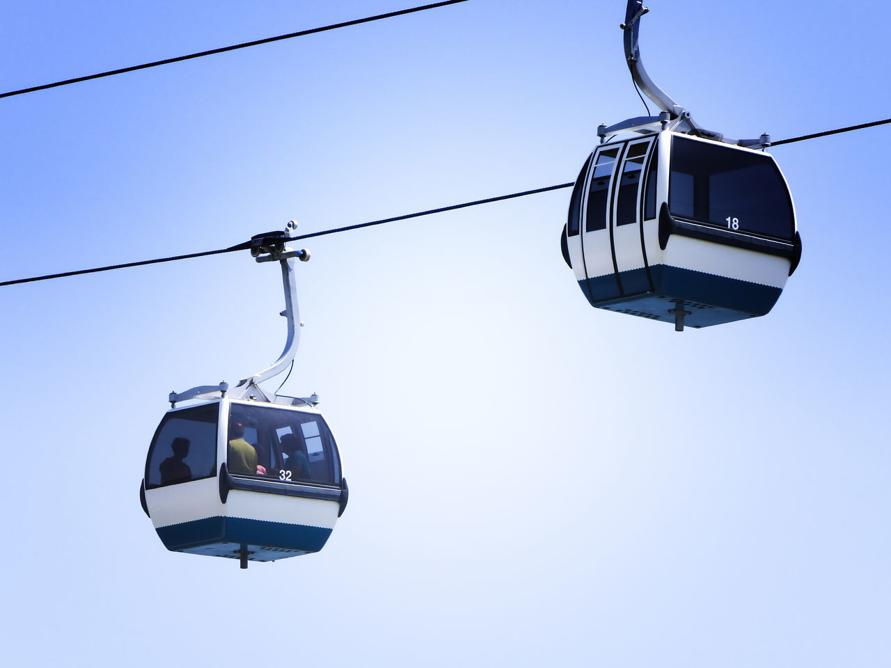 LOW ANGLE VIEW OF Cable Car Against CLEAR BLUE SKY