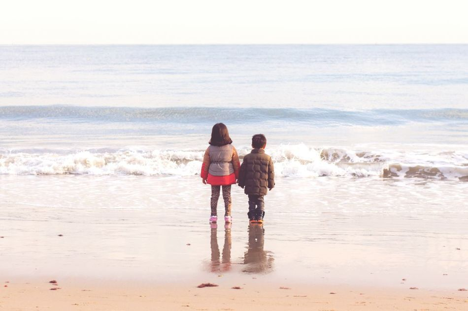 Beach Sea Child Sand Childhood Two People Wave Family Water Leisure Activity Togetherness Brother And Sister Gwanganli Busan Korea Bonding Outdoors People Kids