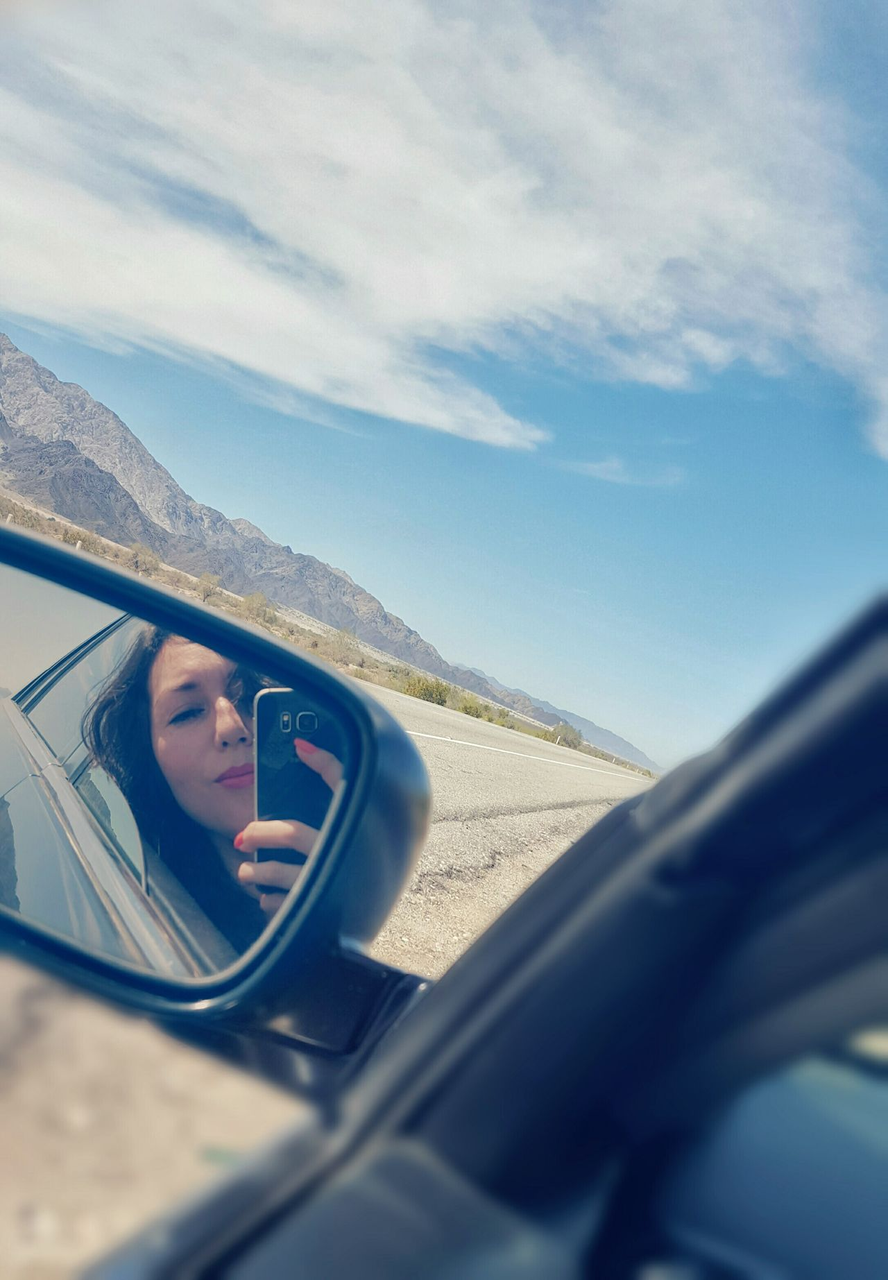 🤗 Car Vehicle Mirror Ontheroad Driving Vehicle Interior Day Mode Of Transport One Person Front View Cloud - Sky On The Move Transportation Captured Moment Selfie Windshield EyeEm Mirror Road Trip Landscape On The Road Mexico Eyeemphotography EyeEm Gallery Road Side-view Mirror