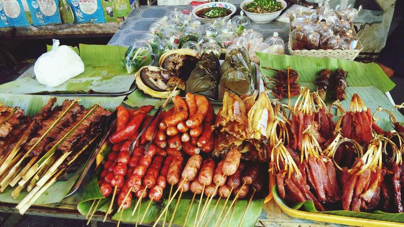 Food And Drink For Sale Food Market Retail  Abundance Market Stall Large Group Of Objects Freshness High Angle View Healthy Eating Day No People Choice Indoors  Close-up Vientiane, Laos