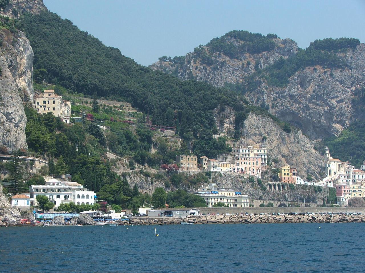 Yellow Water Green Built Structure Skyscraper Horizon Over Water Positano Naples, Italy Travel Destinations