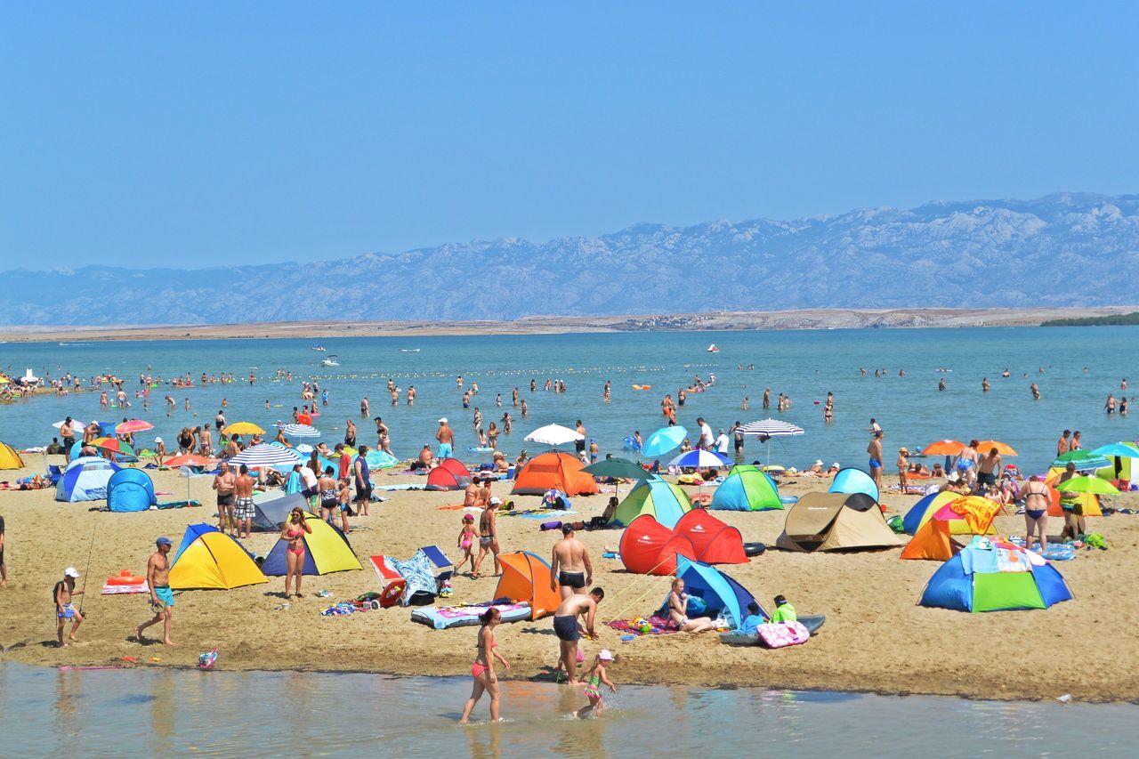 Beach life Adriatic Sea Beach Blue Colorful Croatia Mountain Nin People Sand Sand Beach Sea Sun Sunbathing Swimming Water