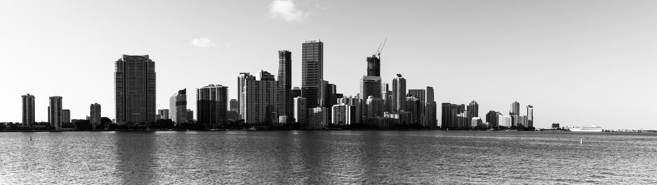 Architecture Black And White Skyline Blackandwhite Building Exterior Built Structure City City Life City View  Cityscape Cityskyline Downtown District Miami Miami Skyline Miami View Miamiskyline Modern Outdoors Sea Sky Skyscraper Travel Destinations Urban Skyline Water Waterfront The Great Outdoors - 2017 EyeEm Awards