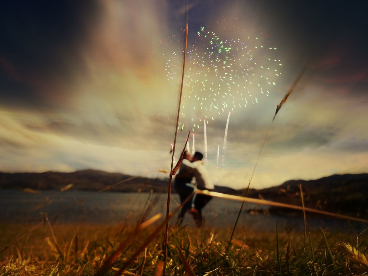 sky, firework display, outdoors, exploding, long exposure, firework - man made object, event, arts culture and entertainment, celebration, motion, night, no people, nature, scenics, grass, close-up