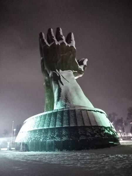 Night Statue Cold Temperature No People Winter Snow Outdoors Sky Praying Hands City Illuminated Winter