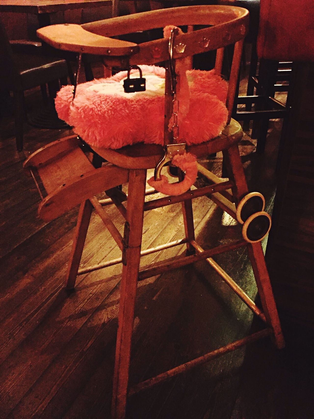 Berlin style. Chair Empty Seat Hardwood Floor Restaurant Relaxation Dining No Cooking Tonight Child's Chair Berlin Style Going Nowhere Pink Power