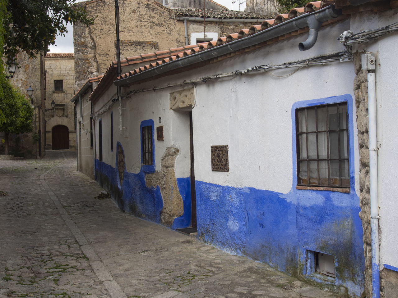 Blue street Blue Wall Built Structure Damaged House Narrow Old Old Street Ruined Spanish Spanish Atmosphere Street Wall Wall - Building Feature Window