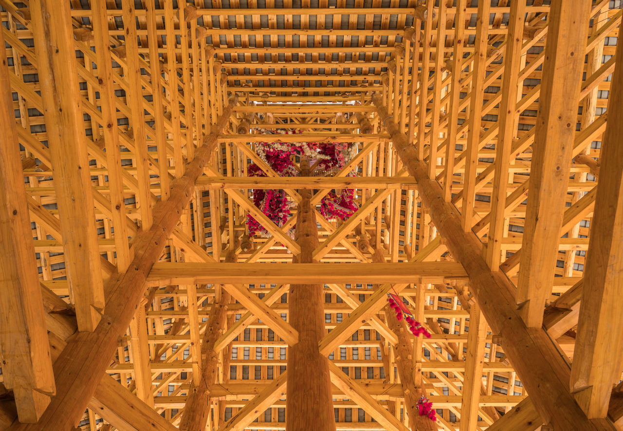 Chinese Bell Tower Wood Framework Architecture ASIA Astronomy Beauty In Nature Bell Tower Built Structure China Close-up Construction D Day Dong Villages Framework Indoors  Low Angle View No People Sanjiang Tower Traditional Wood Wood - Material