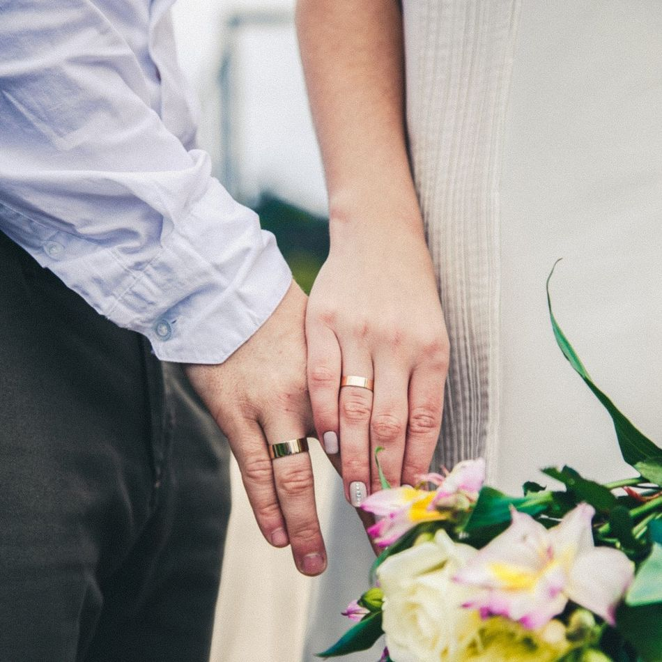 Two People Holding Wedding Human Hand Women Bridegroom Life Events Flower Togetherness Adults Only Close-up Indoors  Bride People Adult Day Human Body Part