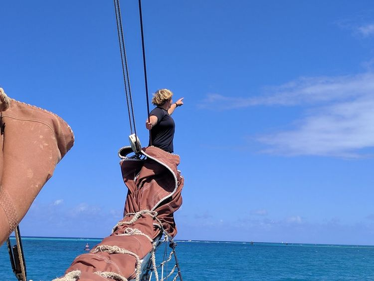 Long Goodbye RISK Hanging Climbing Sea People Sky Blue Outdoors The Purist (no Edit, No Filter) Rear View The Way Forward Usvirginislands Carribean Carribean Life Tall Ship Sailboat Sailing Ship Adventure The World Is Beautiful Pointing The Way TCPM EyeEmNewHere