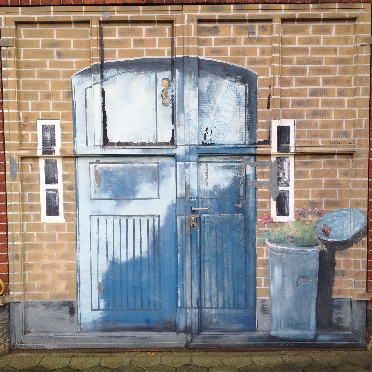 Brick Wall Building Exterior House Optische Täuschung Outdoors Wandbild Wandmalerei Weathered