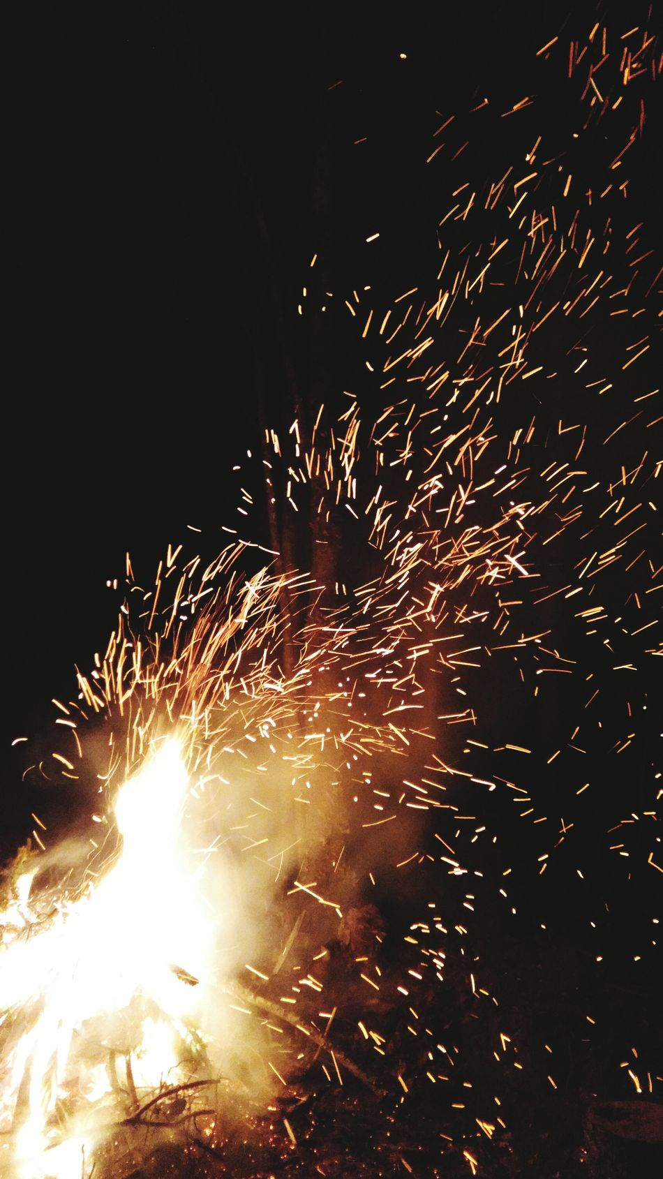 Heat - Temperature Motion Exploding Sparks Outdoors Night No People Campfire Flames Sparks Fly Fire