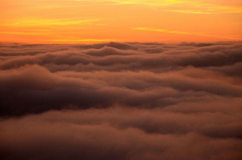 Sunset And Clouds  Fire In The Sky Foggy Weather White Blanket