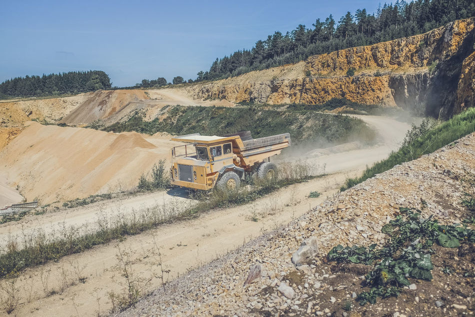Business Finance And Industry Day Dusty Road Landscape No People Outdoors Quarry Sky Southern Germany Swabian Alb Transportation Tree Truck