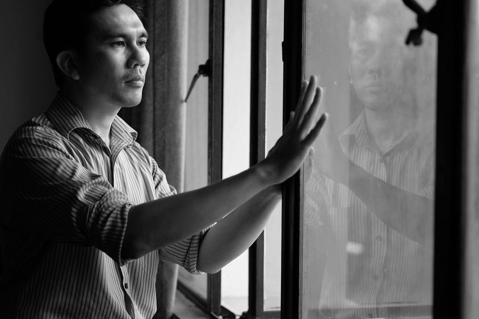 Window One Person Real People Indoors  Curtain Looking Through Window Standing Lifestyles Day Young Adult Close-up Adult People Hand Touching Self Portrait Selfportrait Portrait Indoors  Front View Resist