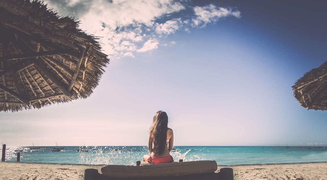 Beautiful stock photos of sonnenschein,  25-29 Years,  Auto Post Production Filter,  Beach,  Beach Umbrella