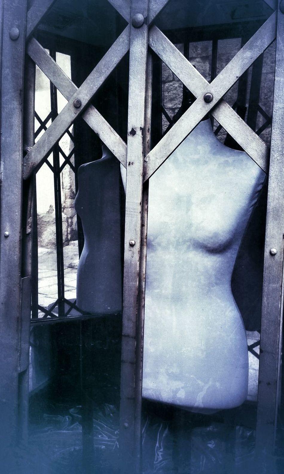 Armless Shop Window Mannequin Bars Creepy Vintage Old Shop