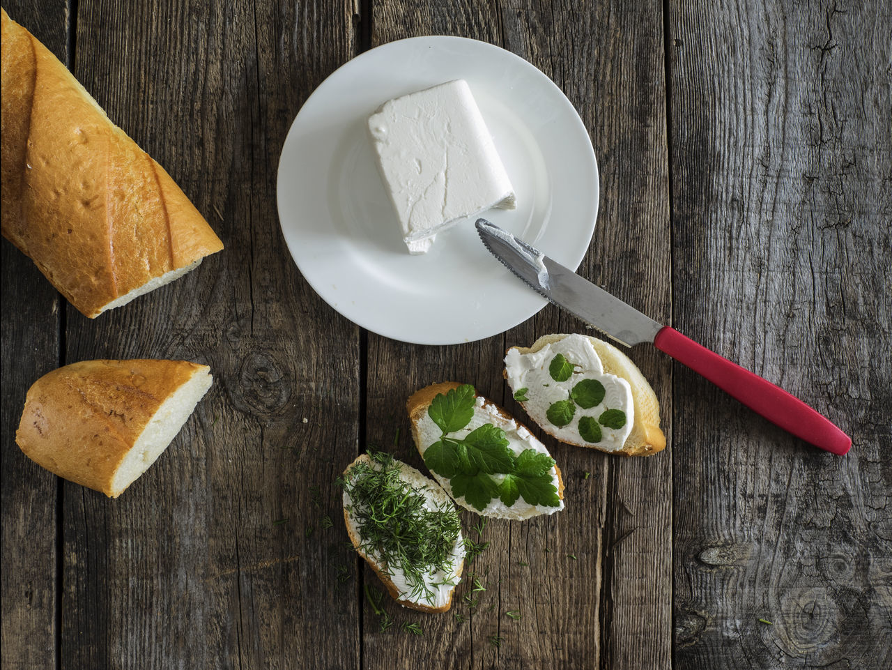 bruschetta with feta cheese and chopped spicy herbs on an old wooden weathered table Background Bread Bruschetta Cheese Chopped Close-up Feta Food Freshness Herbs Homemade Indoors  Meal No People Old Planks Spicy Studio Shot Table Weathered Wood - Material Wooden