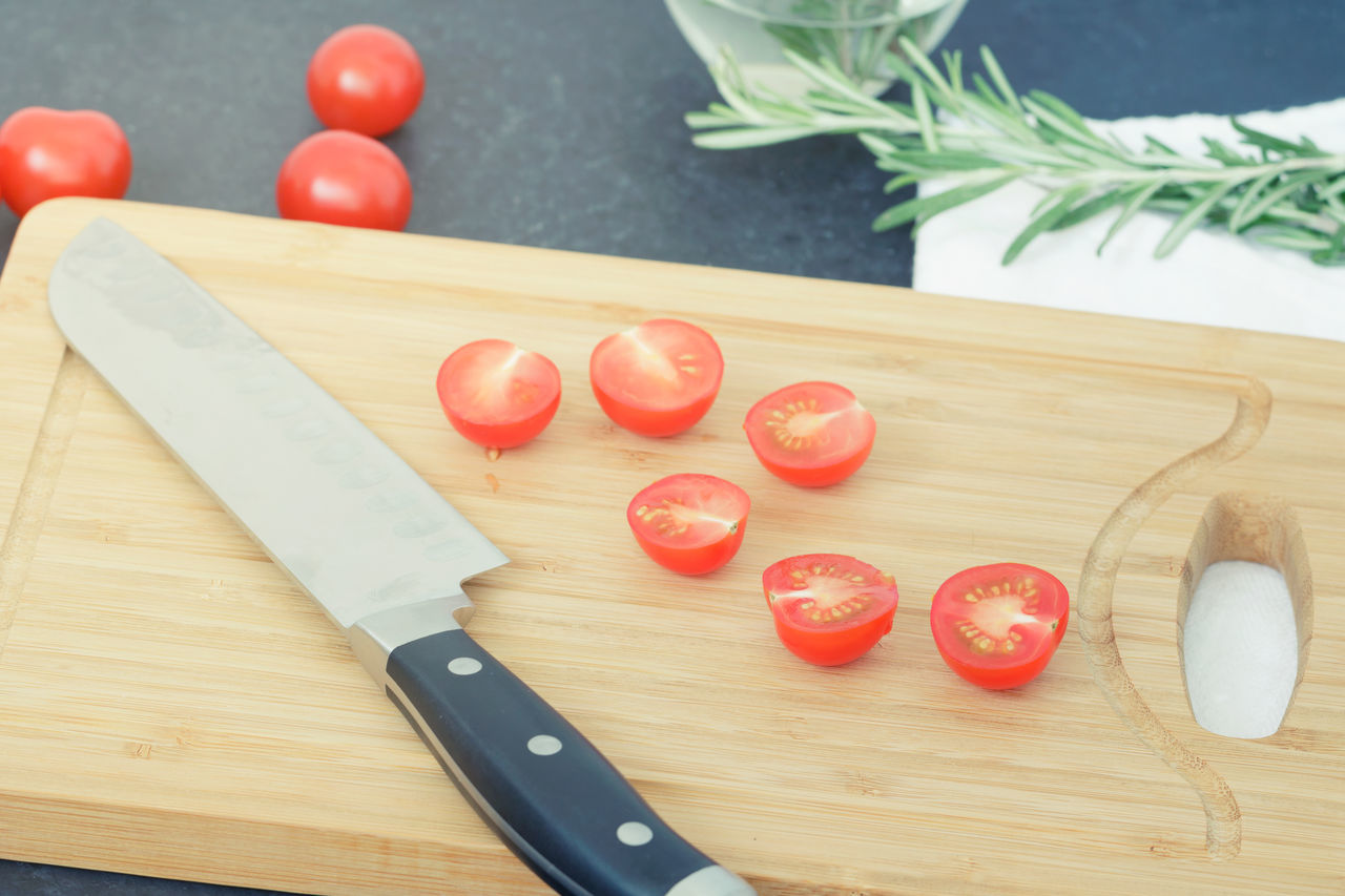 Chopping Chopping Board Close-up Cutting Board Day Food Food And Drink Freshness Healthy Eating High Angle View Indoors  Kitchen Knife No People Preparation  Table Tomato Wood - Material