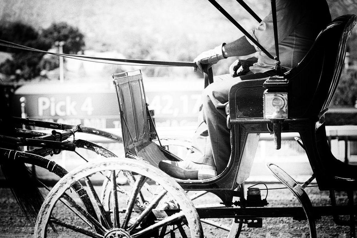 Blackandwhitephotography Day Mode Of Transport Outdoors Racetrack Santa Anita Transportation Wheel