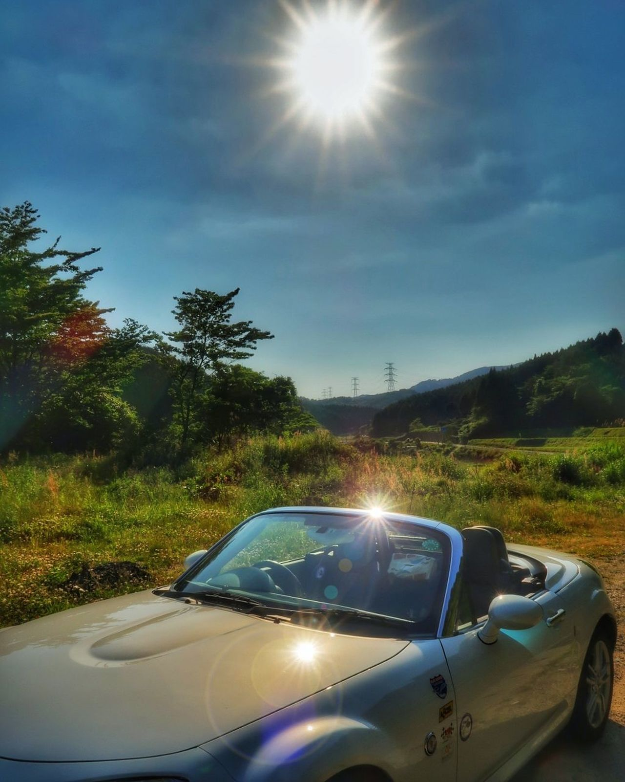 広域農道マニア 広域農道 青空 いま空 空 太陽 山 道路 マツダ ロードスター Mazda Mx5 Miata Car Road Trip Sun Landscape Sky Outdoors Day Sunlight Lens Flare Tree The Way Forward Beautifulview