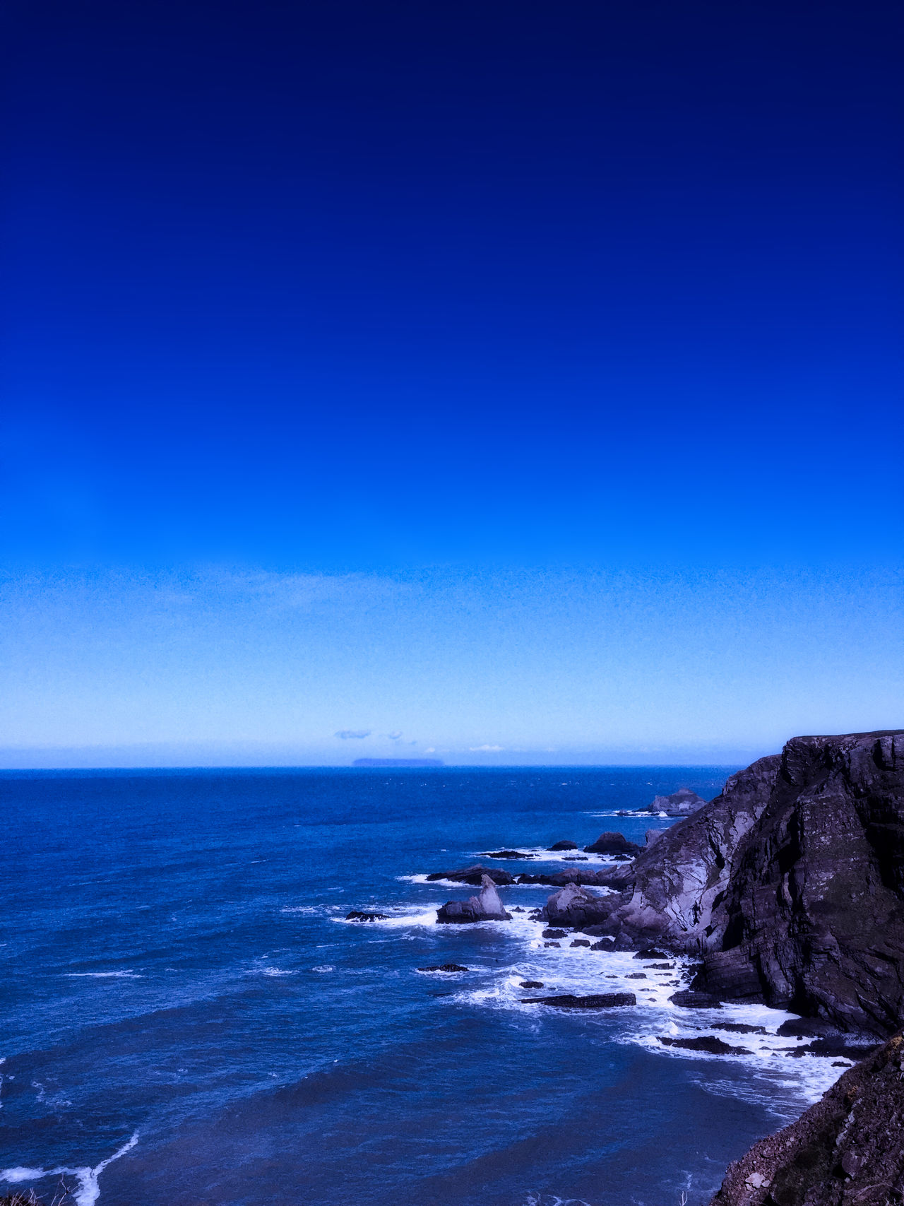 Astronomy Beach Beauty In Nature Blue Clear Sky Day Horizon Over Water Idyllic Isle Of Lundy Landscape Nature No People Outdoors Scenics Sea Sky Tranquil Scene Tranquility Water