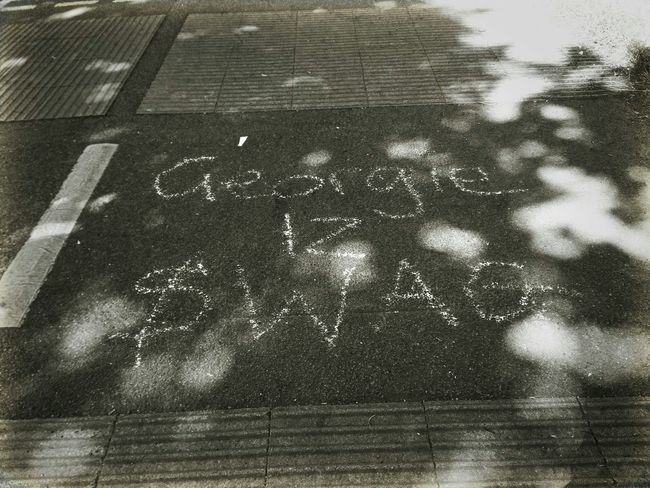 Swag Street Art Pavement Writing In The Pavement Chalk Art Public Warning