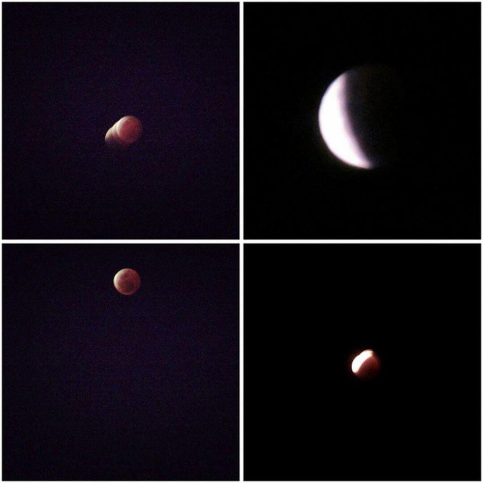 皆既月食 月🌔 Lunar Eclipse 2015/04/04 不想錯過紅紅的大蘋果 靜靜的守著!開心在兒童節看見了😄😄😄