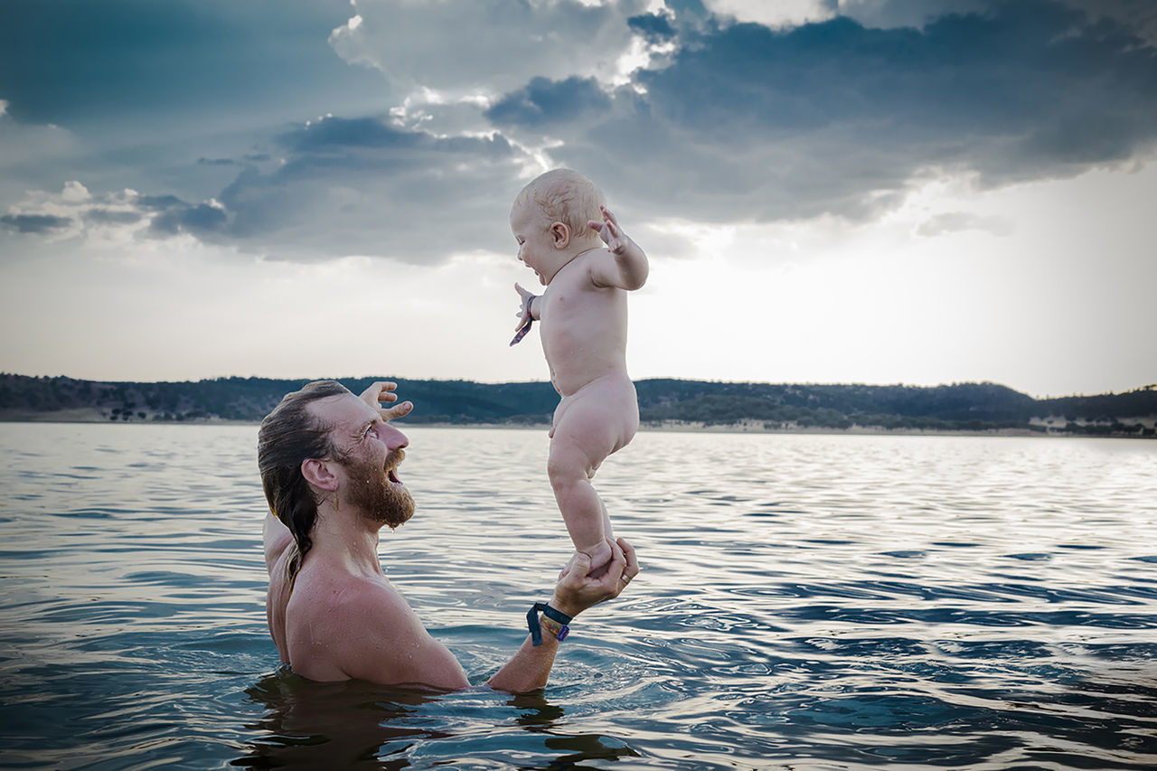 Father and a son Baby Bonding Childhood Cloud - Sky Connection Father Festival Freedom Fun Happiness Joy Kids Kids Being Kids Kids Playing Lake Live For The Story Love Nature Parenthood Photography Sky Smiling Togetherness Water Yoga