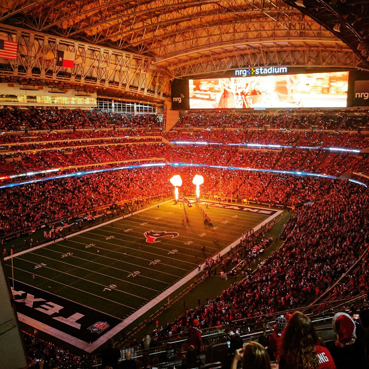 Houston Texans vs Cincinatti Bengals. Christmas Eve. 12/23/2016. Stadium Sport Illuminated Large Group Of People Sports Team Crowd Match - Sport Fan - Enthusiast Houston Texans NRG Football Cincinnati Bengals Texas American Football - Sport American Football Field Endzone Nosebleed Section  Fans Cheer NFL NFL Football NFL Experience Aerial View First Eyeem Photo
