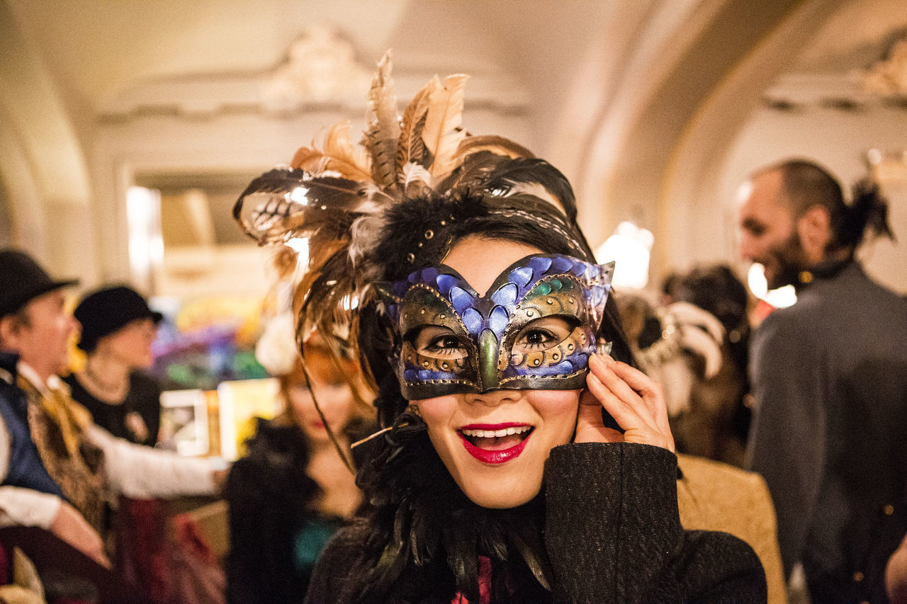 Art Art And Craft Close-up People And Places Confident  Costume Party Creativity Edwardian Ball Fashion Front View Happiness Happy Looking At Camera Mardi Gras Mask Masque Masquerade Night Out Portrait Portrait Of A Woman Young Woman Colors Of Carnival Original Experiences The Portraitist - 2016 EyeEm Awards 43 Golden Moments