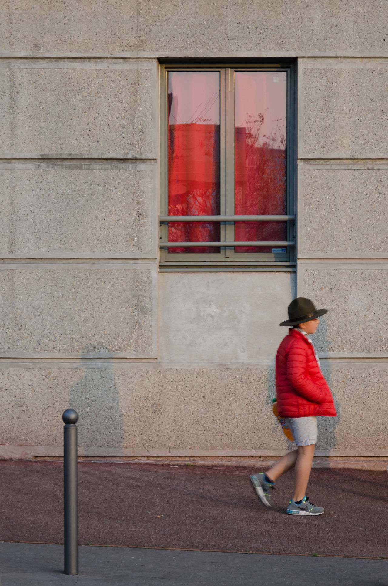 Scout camouflaged Boy Building Exterior Child Childhood City City Life Color Hat One Person Pavement Red Scout Scouting Street Town Uniform Walking Window