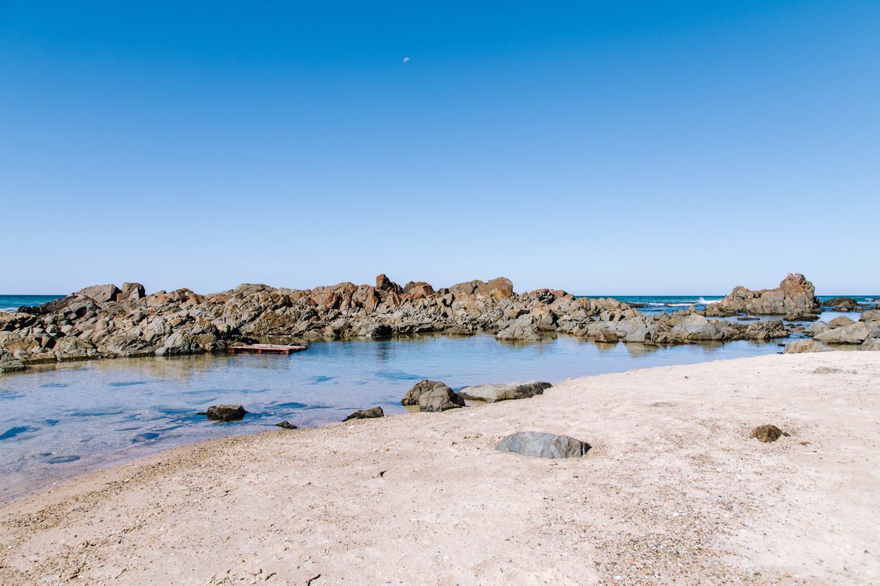 Rock pool Beauty In Nature Blue Clear Sky Copy Space Day Landscape Nature No People Outdoors Rock - Object Scenics Sea Sky Tranquil Scene Tranquility Water